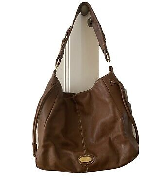 £10 • Buy Pied A Terre Tan Shoulder Bag With Zip Pocket Plus Strap.  Striped Lining
