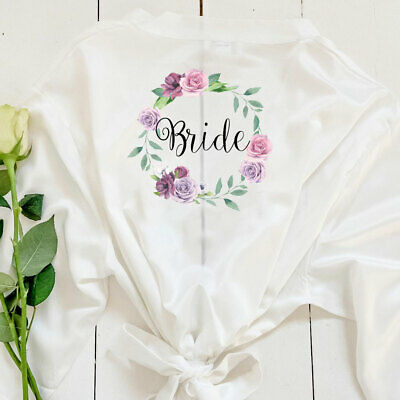 £8.81 • Buy Personalised Floral Bride Bridal Kimono V-Neck Robes Bridesmaid Dressing Gown