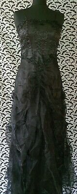 £59.99 • Buy Gothic Long Black Ball Gown, Wedding Or Prom Dress + Free Scarf. Victorian Bnwot