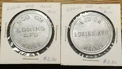 $0.99 • Buy 2 Vtg. Military Trade Tokens NCO OM LORING AFB AIR FORCE BASE LIMESTONE, MAINE