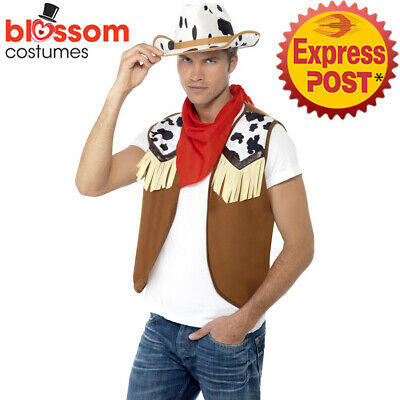 $20.21 • Buy AC110 Mens Instant Wild West Western Cowboy Costume Kit Texas Rodeo Outift Hat
