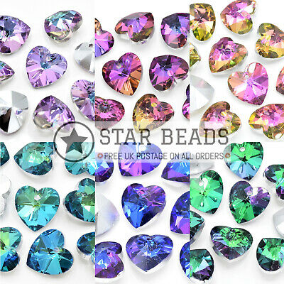 £3.05 • Buy Faceted Glass Silver Plated Jewellery Making Pendants Beads - Pick Colour Shape