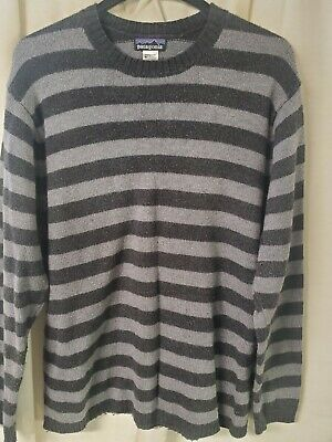 $6.50 • Buy Patagonia Gray Striped Wool Blend Knit Long Sleeve Sweater Mens Size Large