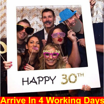 £3.39 • Buy 18/30/40/50/60th 21st Frame Photo Booth Props Paper Happy Birthday Party Decor