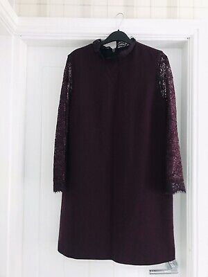 £4 • Buy Topshop Boutique Womens Purple Dress With Lace Size 12 Worn Once
