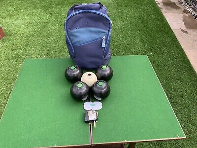£24 • Buy Set Of 4 DRAKES PRIDE Lawn Bowls .1 Jack And Accessories