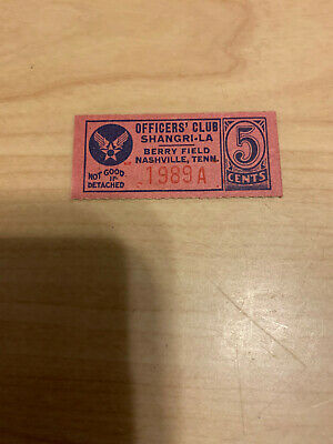 $22 • Buy Wwii Military Trade Token Chit Tn Tennessee Berry Field Nashville Officers Club