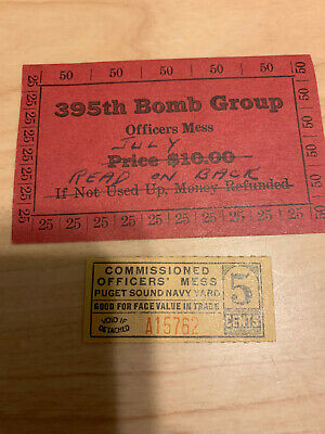 $31 • Buy Wwii Military Trade Token Chit Wahington 395th Bomb Group $10 Card Officers Mess
