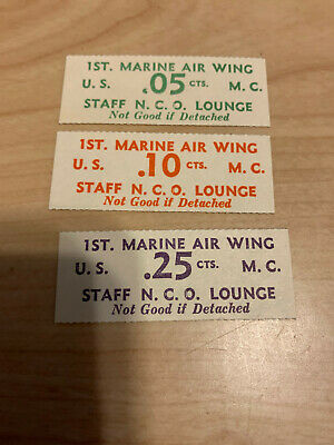 $22 • Buy Wwii Military Trade Token Chit China U.s. Marines 1st Air Wing Nco Lounge