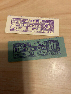 $15 • Buy Wwii Military Trade Token Chit China Marine Corps 11th Regiment Enlisted Club