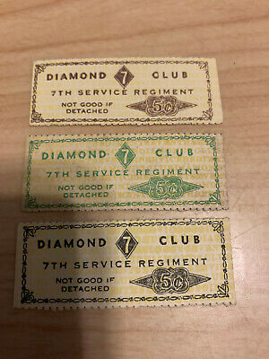 $32 • Buy Wwii Military Trade Token Chit China Marines 7th Service Regiment Diamond Club 3