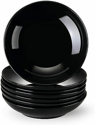 £25.99 • Buy Lovecasa Sweet 6pc Black 6  Soup Plate Round Dining Side Dishes Deep Bowls 550ml