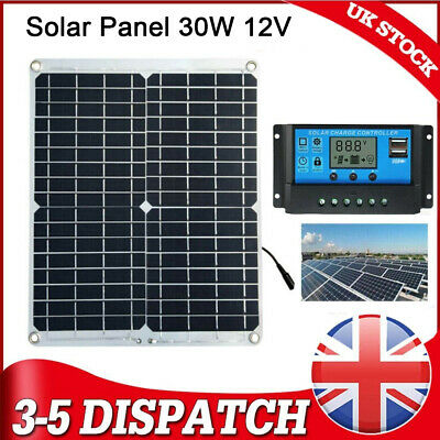 £26.97 • Buy 30W Solar Panel 12 Volt Trickle Battery Charger 10A Controller For Car Van Boat
