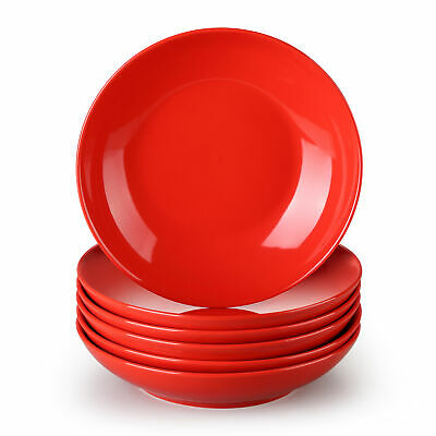 £33.99 • Buy  Lovecasa Sweet 6pc 6  Porcelain Red Deep Dinner Plates Salad Soup Dishes Bowls