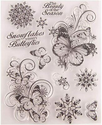 £3.29 • Buy Butterfly Snowflake Silicone Clear Stamp For Scrapbooking Embossing Card Craft