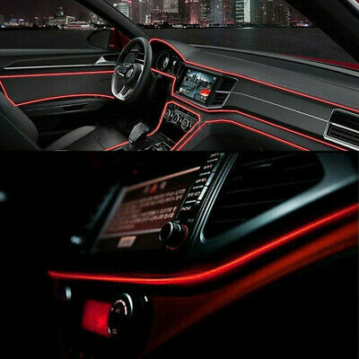 AU10.75 • Buy Red 2M LED Car Interior Decor Atmosphere Wire Strip Light Lamp Bar Accessories