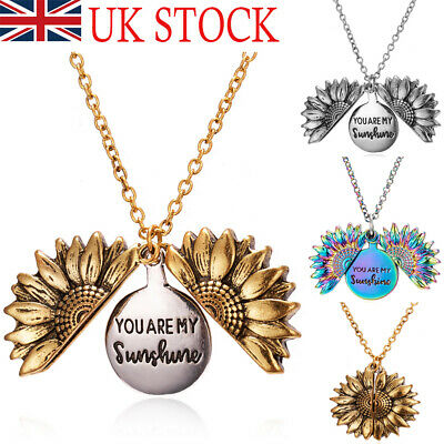 £3.99 • Buy Unisex You Are My Sunshine Open Locket Sunflower Pendant Necklace Jewelry Gifts