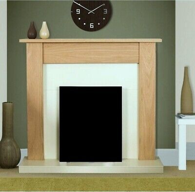 £175 • Buy Electric Fire Oak Cream Wooden Fireplace Surround Hearth And Back Panel