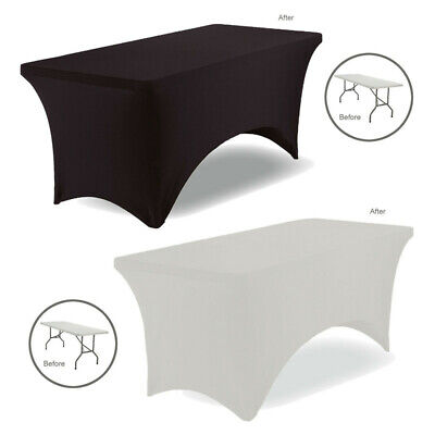£10.99 • Buy 4/8FT Rectangular Spandex Stretch Tight Fit Table Cover Lycra Trestle Tablecloth