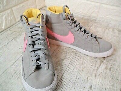 £14.99 • Buy Nike Blazer Suede High Top Trainers Size 5 Grey & Pastel Pink Colour