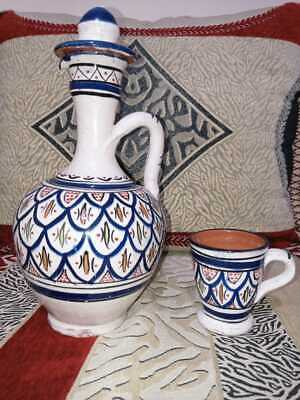 £21.78 • Buy Hand Painted Moroccan Vase With His Cup Made In Safi | Moroccan Pottery