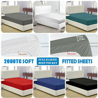 AU16 • Buy 2000TC Ultra Soft Fitted Bed Sheet Super King/King/Queen/Double/Single Size New
