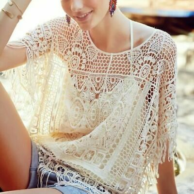 AU40.39 • Buy ANTHROPOLOGIE $88 Angel Of The North Lace Sayulita Crochet Top Size XS / Small