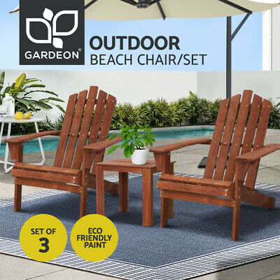 AU209.90 • Buy Gardeon Outdoor Lounge Setting Beach Table Chairs Wooden Indoor Patio 3pc Set