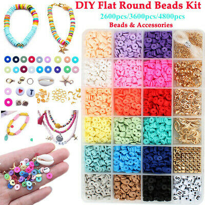 £12.88 • Buy 1 Box 6mm Polymer Clay Beads Spacer Charms For DIY Bracelets Jewelry Making UK