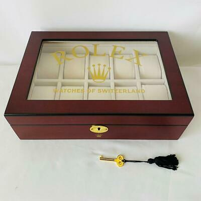 £1021.43 • Buy Rolex Luxury Wooden Watch Display Box Case Holds 10 Watches Novelty