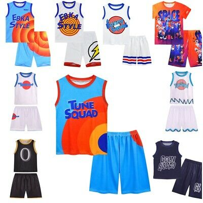 £9.99 • Buy 2Pcs Space Jam Basketball Costume Vest Shirt Tops Shorts Outfit Kids Xmas Gifts