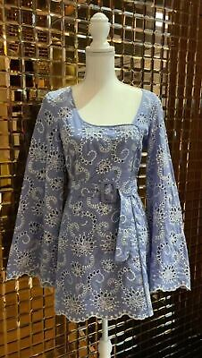 AU129 • Buy Alice McCall, Blue/White Embroidered Anglaise Dress W/ Belt, Size 8
