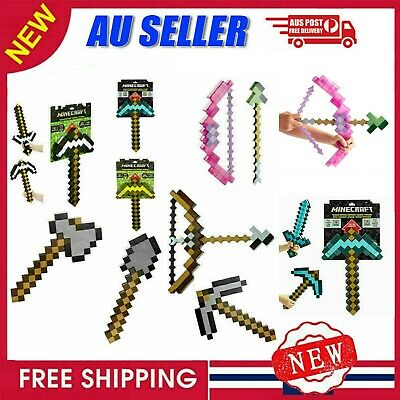 AU42.59 • Buy Toy Minecraft Games Transforming Diamond Sword Pickaxe Hoe Bow And Arrow Shovel