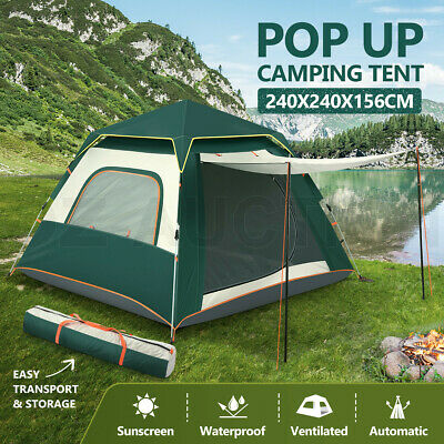 AU129.95 • Buy 4 Person Pop Up Camping Tent Outdoor Beach Instant Shelter Family Hiking Shade