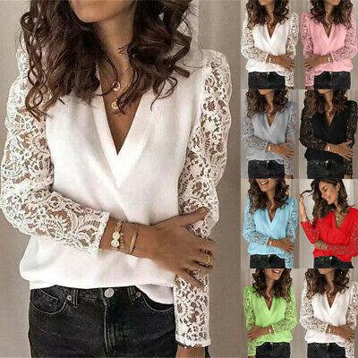 £8.49 • Buy Womens Lace Sleeve Pullover Tops Ladies V Neck T Shirt Casual Blouse Plus Size