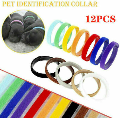 £4.05 • Buy 12 Colors Puppy Adjustable Collars Welping ID Bands Newborn Dog Kitten Pet Tags