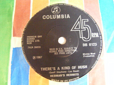 £3.49 • Buy HERMAN'S HERMITS There's A Kind Of Hush Ex+ Columbia UK 1967 7