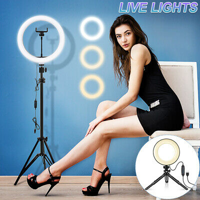 AU10.59 • Buy 10 &19  LED Dimmable Ring Light Tripod Stand Selfie Fill Light Makeup Live Lamp