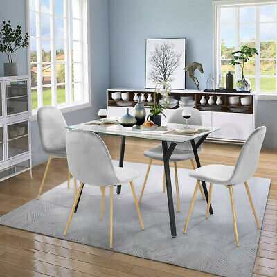 AU299.95 • Buy Dining Table Chairs 5 Set Tempered Glass Grey Velvet Dining Kitchen Furniture