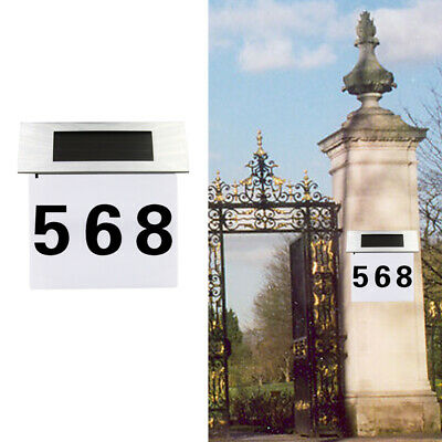 £12.65 • Buy Solar Address Sign House Number Stainless Steel Illumination Street Wall Lamp