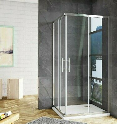 £95.31 • Buy Corner Entry Shower Enclosure Walk In Cubicle Sliding Glass Door And Shower Tray