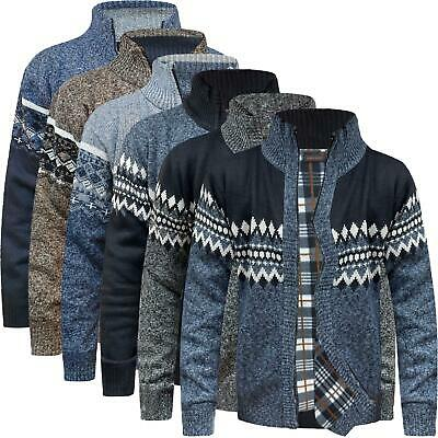 £19.99 • Buy Mens Thermal Insulated Fleece Lined Knitted Zip Cardigan Aztec Granddad Jumper