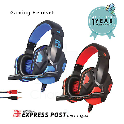 AU19 • Buy Gaming Headset Stereo Noise Cancel Mic Wired 3.5mm Jack For Desktop Laptop PC