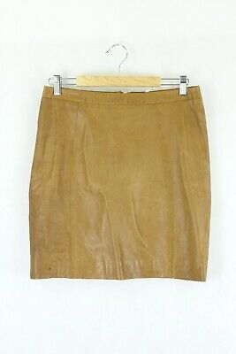 AU82.50 • Buy Gorman Brown Leather Skirt 12 By Reluv Clothing
