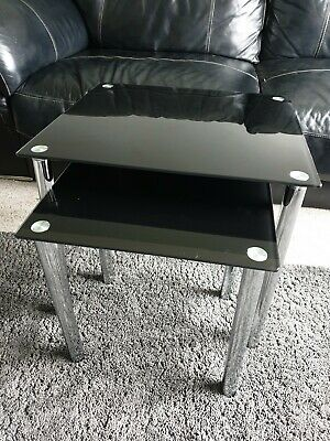 £25 • Buy Black Glass And Chrome Nest Of Tables Modern Coffee Side  Tables