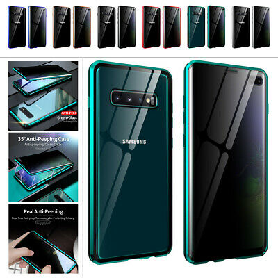 AU11.86 • Buy For Samsung Galaxy S20 S10 S9 S8 Note 20 10 9 Magnetic Glass Anti Spy 360 Case