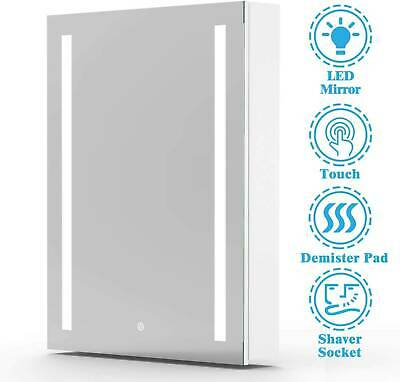£134.99 • Buy Bathroom LED Mirror Cabinet With Shaver Socket Storage Wall Mounted 500x700mm.