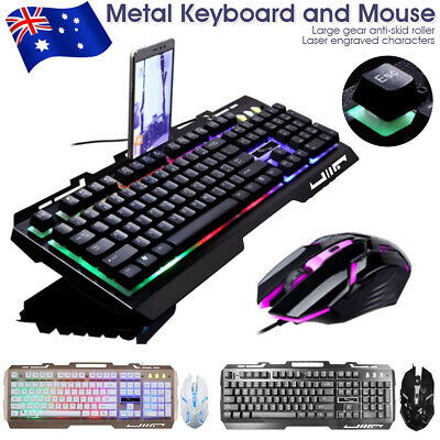 AU23.99 • Buy Gaming Keyboard And Mouse Set Rainbow Backlight LED Wired USB For PC Laptop AU