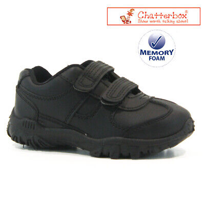 £9.95 • Buy Boys New Chatterbox Trainers Touch Strap Memory Smart Casual Black School Shoes