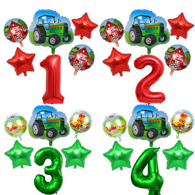 AU5.96 • Buy 6PC Tractor Theme Party Balloon Set Red Green Foil Kids Gift Birthday Decor New